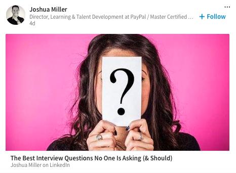Joshua Miller, Interviewing Expert