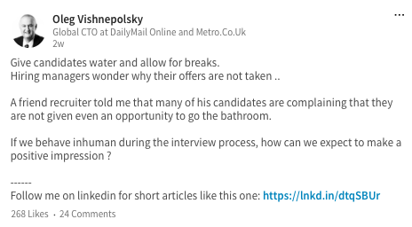 Interviewing Expert to Read on LinkedIn